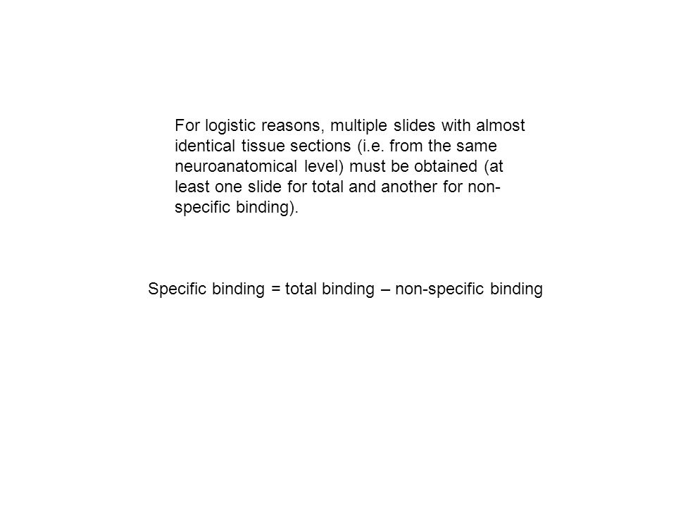 Specific binding = total binding – non-specific binding