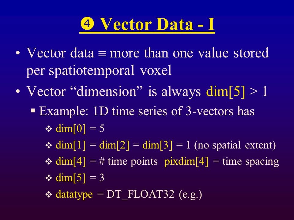  Vector Data - I Vector data  more than one value stored per spatiotemporal voxel Vector dimension is always dim[5] > 1  Example: 1D time series of 3-vectors has  dim[0] = 5  dim[1] = dim[2] = dim[3] = 1 (no spatial extent)  dim[4] = # time points pixdim[4] = time spacing  dim[5] = 3  datatype = DT_FLOAT32 (e.g.)