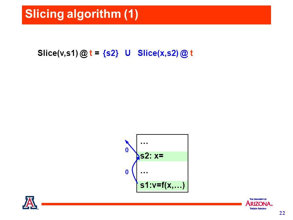 22 Slicing algorithm (1) {s2} U Slice(x,s2) @ t 0 Slice(v,s1) @ t = … s2: x= … s1:v=f(x,…) 0