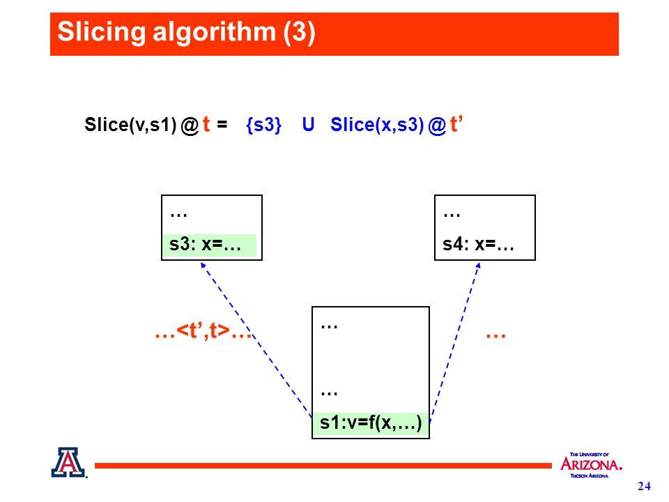 24 Slicing algorithm (3) {s3} U Slice(x,s3) @ t' Slice(v,s1) @ t = … s1:v=f(x,…) … s3: x=… … s4: x=… … …