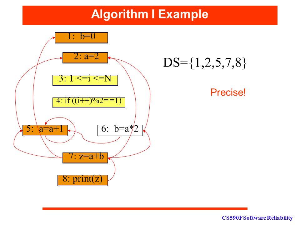 CS590F Software Reliability Algorithm I Example 1: b=0 2: a=2 3: 1 <=i <=N 4: if ((i++)%2= =1) 5: a=a+16: b=a*2 7: z=a+b 8: print(z) DS={1,2,5,7,8} Pr