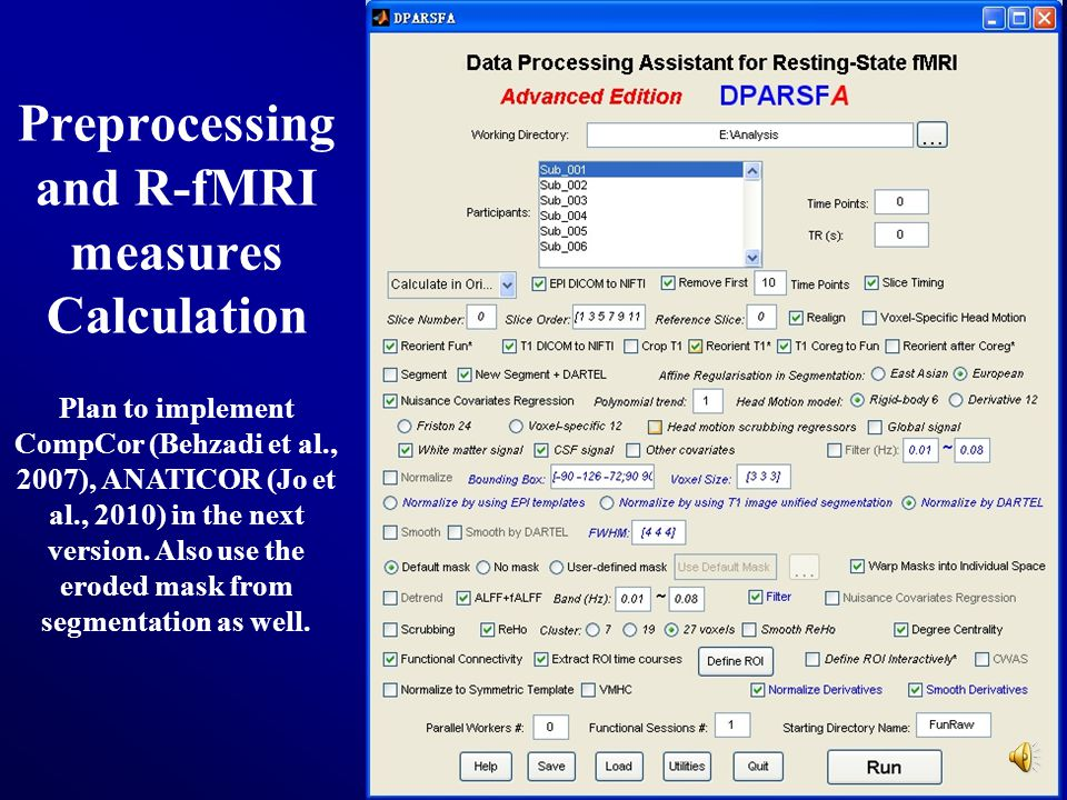 34 Preprocessing and R-fMRI measures Calculation Plan to implement CompCor (Behzadi et al., 2007), ANATICOR (Jo et al., 2010) in the next version. Als