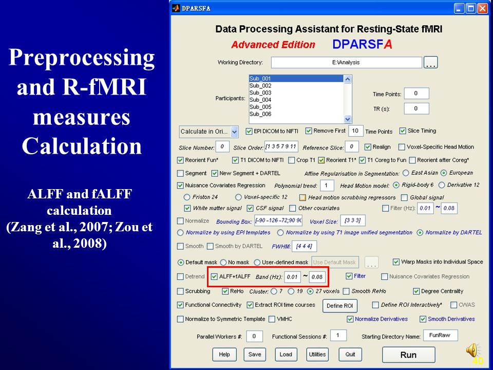 40 ALFF and fALFF calculation (Zang et al., 2007; Zou et al., 2008) Preprocessing and R-fMRI measures Calculation