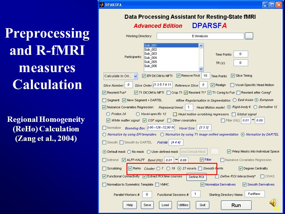 46 Regional Homogeneity (ReHo) Calculation (Zang et al., 2004) Preprocessing and R-fMRI measures Calculation