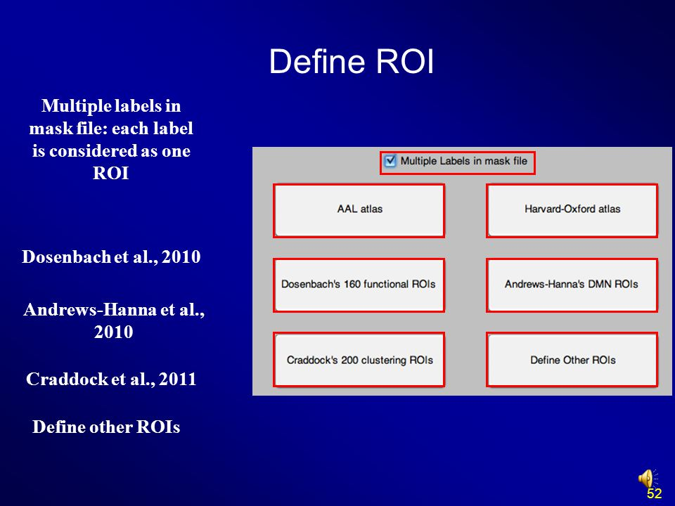 Dosenbach et al., 2010 52 Multiple labels in mask file: each label is considered as one ROI Define other ROIs Define ROI Andrews-Hanna et al., 2010 Cr