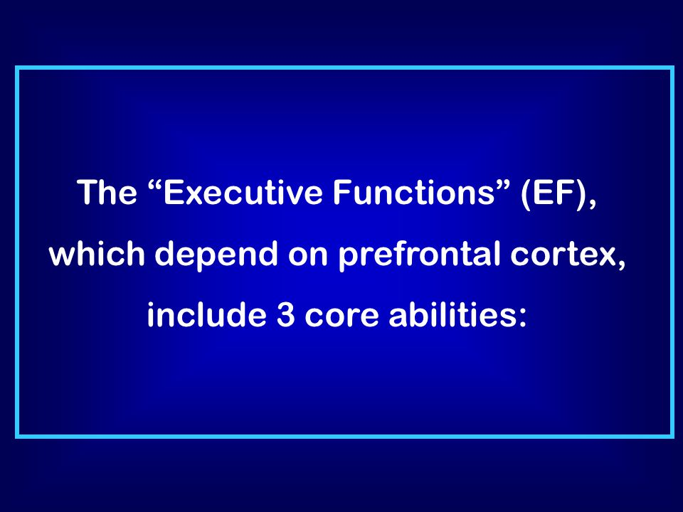 The Executive Functions (EF), which depend on prefrontal cortex, include 3 core abilities:
