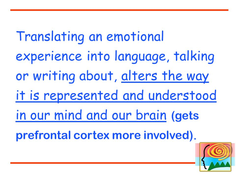 Translating an emotional experience into language, talking or writing about, alters the way it is represented and understood in our mind and our brain (gets prefrontal cortex more involved).