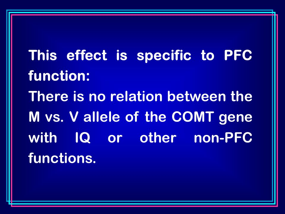 This effect is specific to PFC function: There is no relation between the M vs.