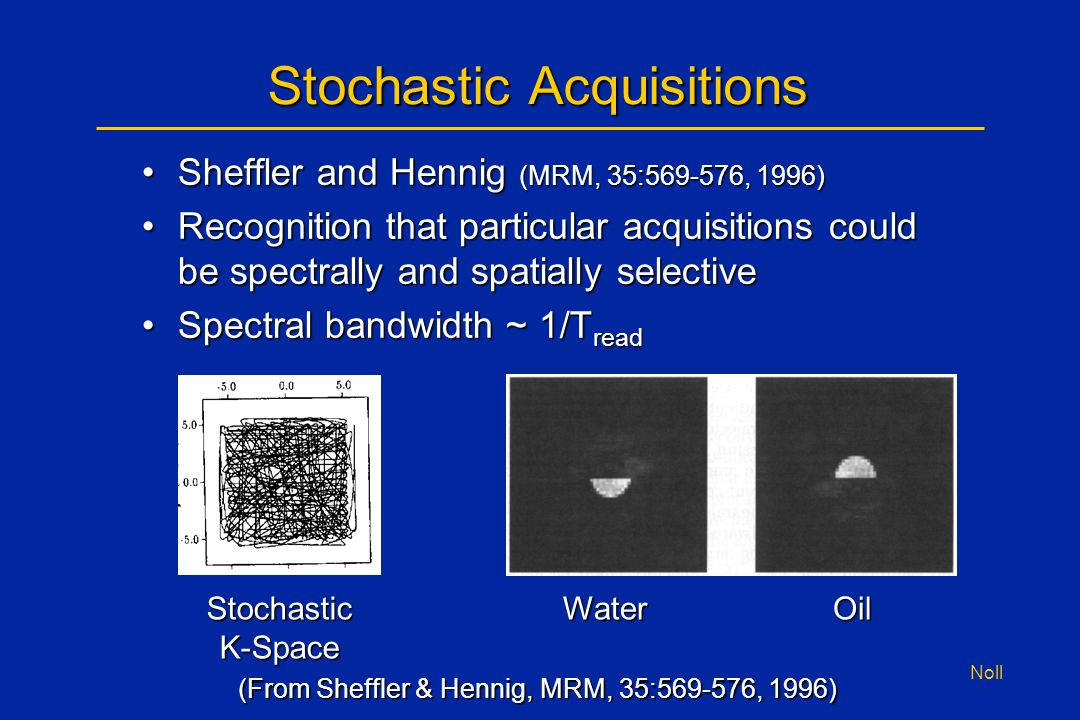 Noll Stochastic Acquisitions Sheffler and Hennig (MRM, 35:569-576, 1996)Sheffler and Hennig (MRM, 35:569-576, 1996) Recognition that particular acquis