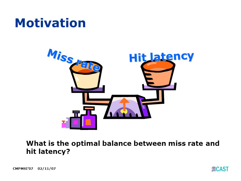 CMPMSI'07 02/11/07 Motivation Miss rate Hit latency What is the optimal balance between miss rate and hit latency