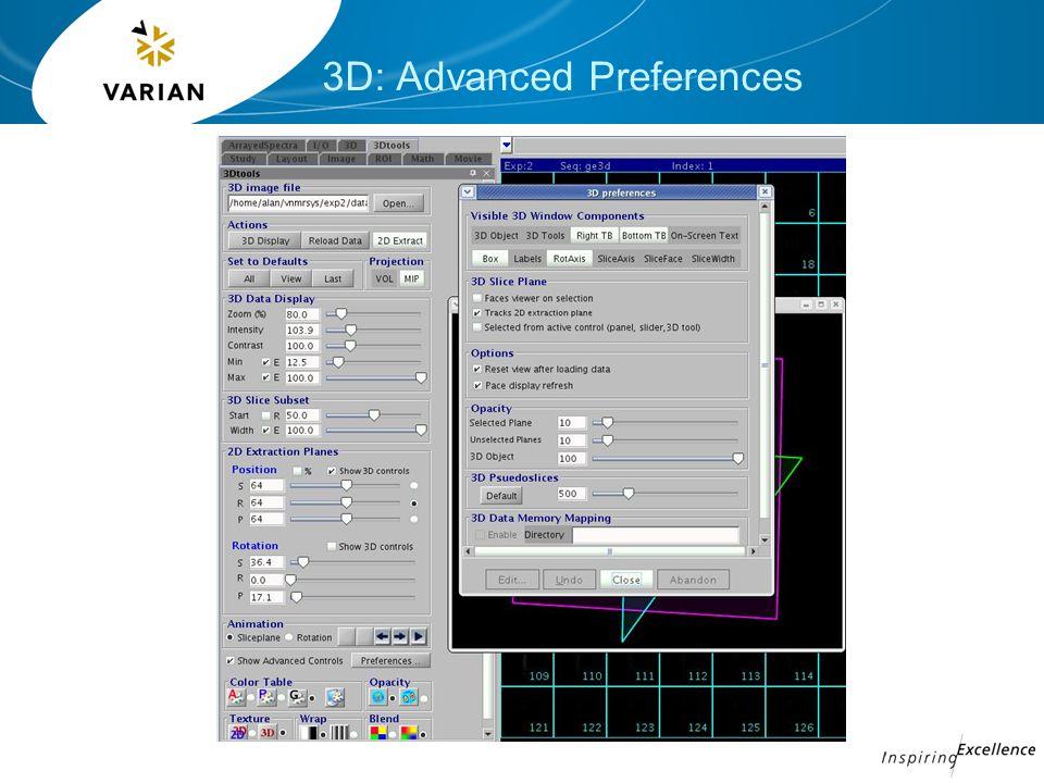 3D: Advanced Preferences