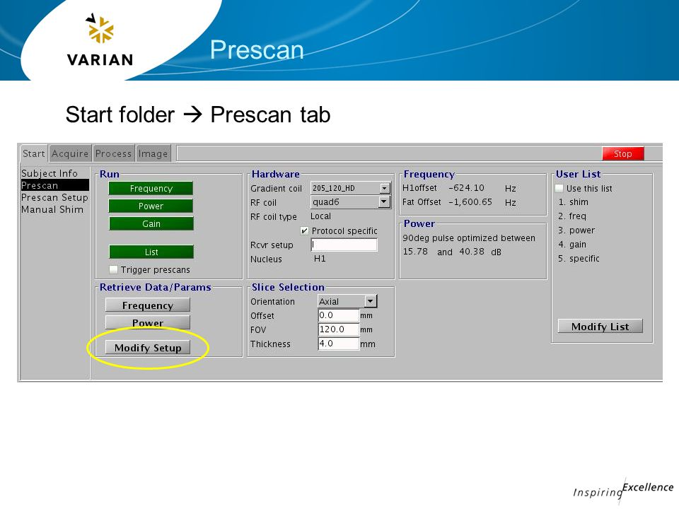 Prescan Start folder  Prescan tab