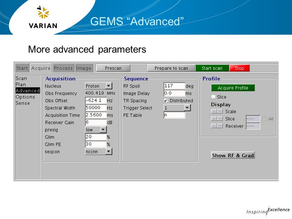 GEMS Advanced More advanced parameters