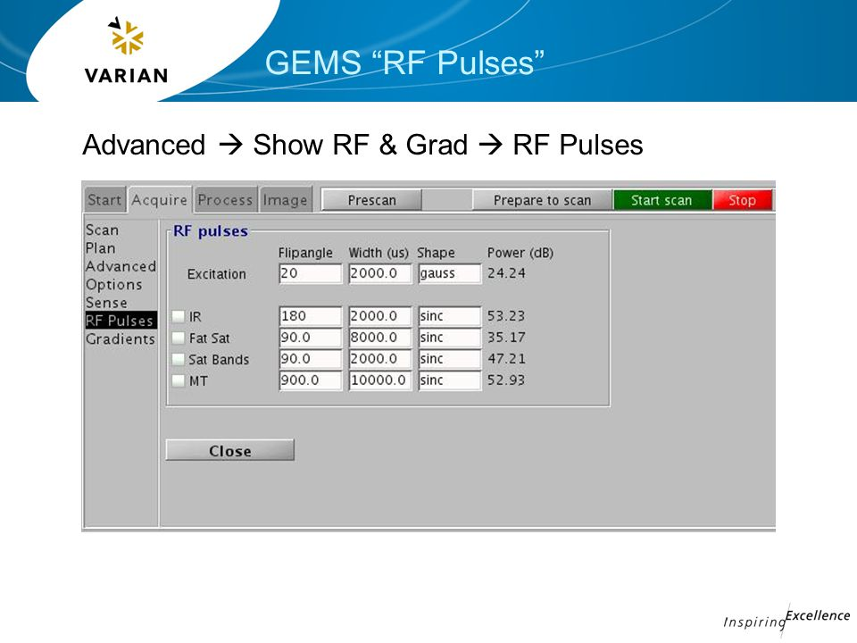 GEMS RF Pulses Advanced  Show RF & Grad  RF Pulses