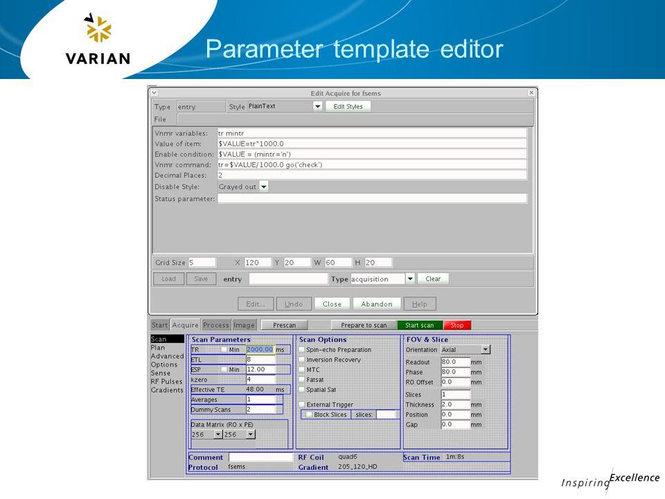 Parameter template editor