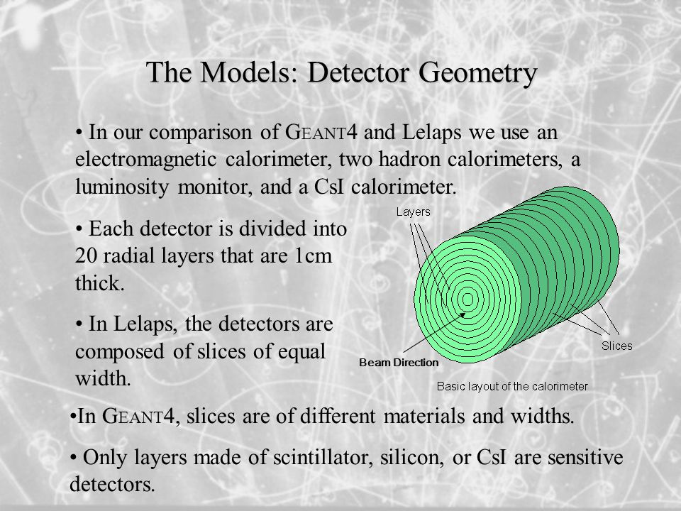The Models: Detector Geometry In our comparison of G EANT 4 and Lelaps we use an electromagnetic calorimeter, two hadron calorimeters, a luminosity monitor, and a CsI calorimeter.