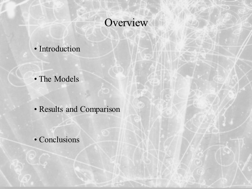 Introduction The Models Results and Comparison Conclusions Overview
