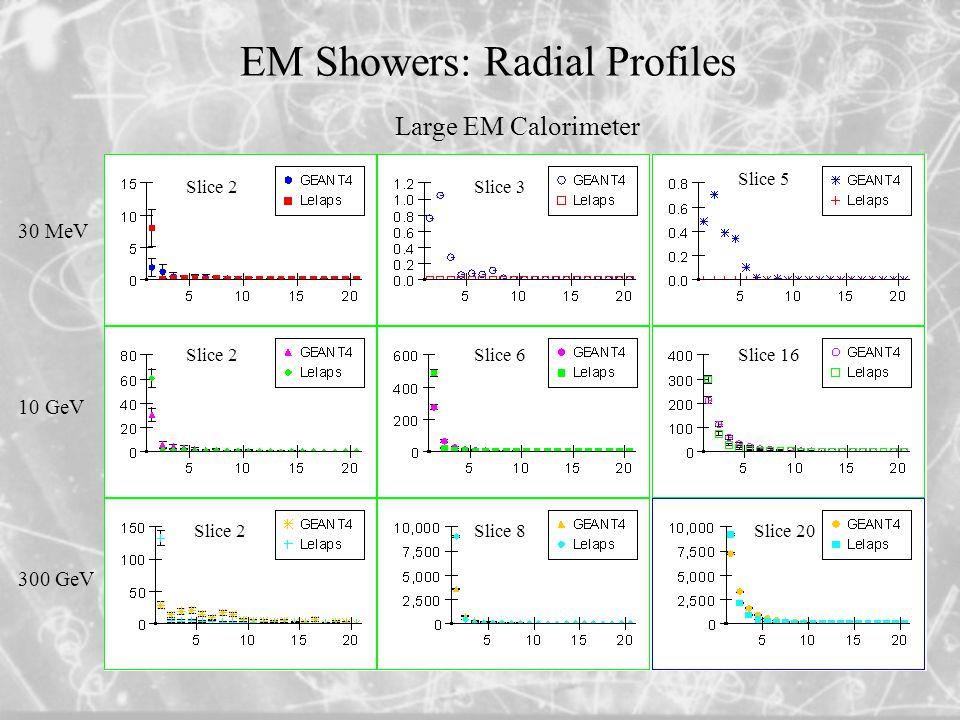 EM Showers: Radial Profiles Slice 2 Slice 3 Slice 6 Slice 8 Slice 5 Slice 16 Slice 20 30 MeV 10 GeV 300 GeV Large EM Calorimeter