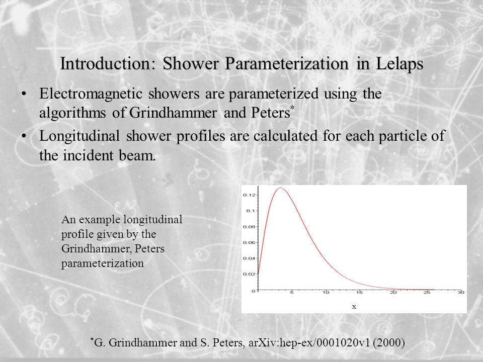 Introduction: Shower Parameterization in Lelaps Electromagnetic showers are parameterized using the algorithms of Grindhammer and Peters * Longitudinal shower profiles are calculated for each particle of the incident beam.