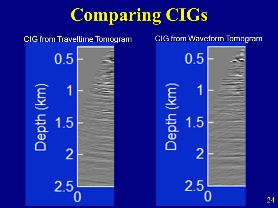 Comparing CIGs 24 CIG from Traveltime Tomogram CIG from Waveform Tomogram