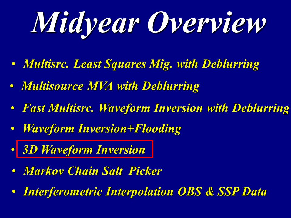 Midyear Overview Multisrc. Least Squares Mig. with DeblurringMultisrc.