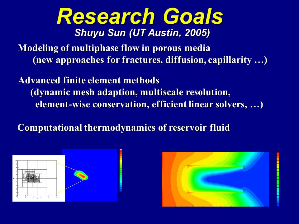 Research Goals Shuyu Sun (UT Austin, 2005)‏ Modeling of multiphase flow in porous media (new approaches for fractures, diffusion, capillarity …) (new approaches for fractures, diffusion, capillarity …) Advanced finite element methods (dynamic mesh adaption, multiscale resolution, (dynamic mesh adaption, multiscale resolution, element-wise conservation, efficient linear solvers, …) element-wise conservation, efficient linear solvers, …) Computational thermodynamics of reservoir fluid