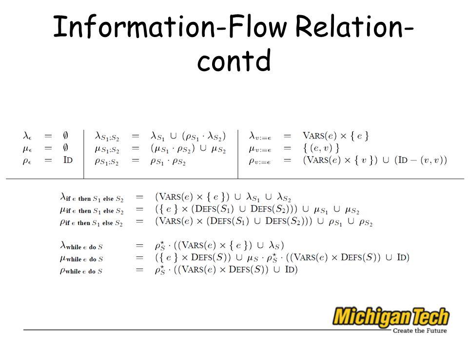 Information-Flow Relation- contd