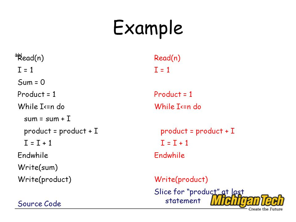 Example Read(n) I = 1 Sum = 0 Product = 1 While I<=n do sum = sum + I product = product + I I = I + 1 Endwhile Write(sum) Write(product) Source Code Read(n) I = 1 Product = 1 While I<=n do product = product + I I = I + 1 Endwhile Write(product) Slice for product at last statement