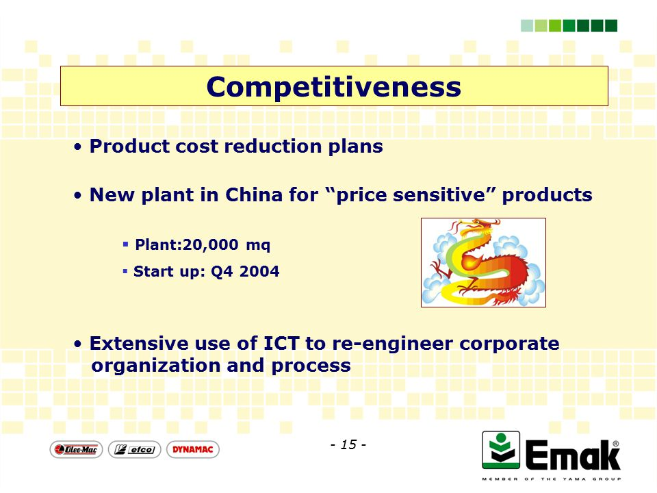 Competitiveness Extensive use of ICT to re-engineer corporate organization and process Product cost reduction plans  Plant:20,000 mq  Start up: Q4 2004 New plant in China for price sensitive products - 15 -