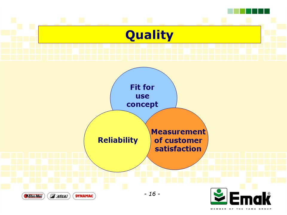 Quality Fit for use concept Measurement of customer satisfaction Reliability - 16 -