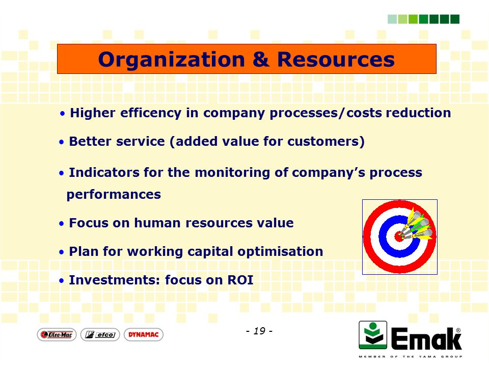 Organization & Resources Higher efficency in company processes/costs reduction Better service (added value for customers) Indicators for the monitoring of company's process performances Focus on human resources value Plan for working capital optimisation Investments: focus on ROI - 19 -