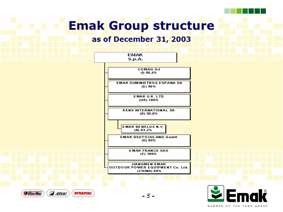 Emak Group structure as of December 31, 2003 - 5 -