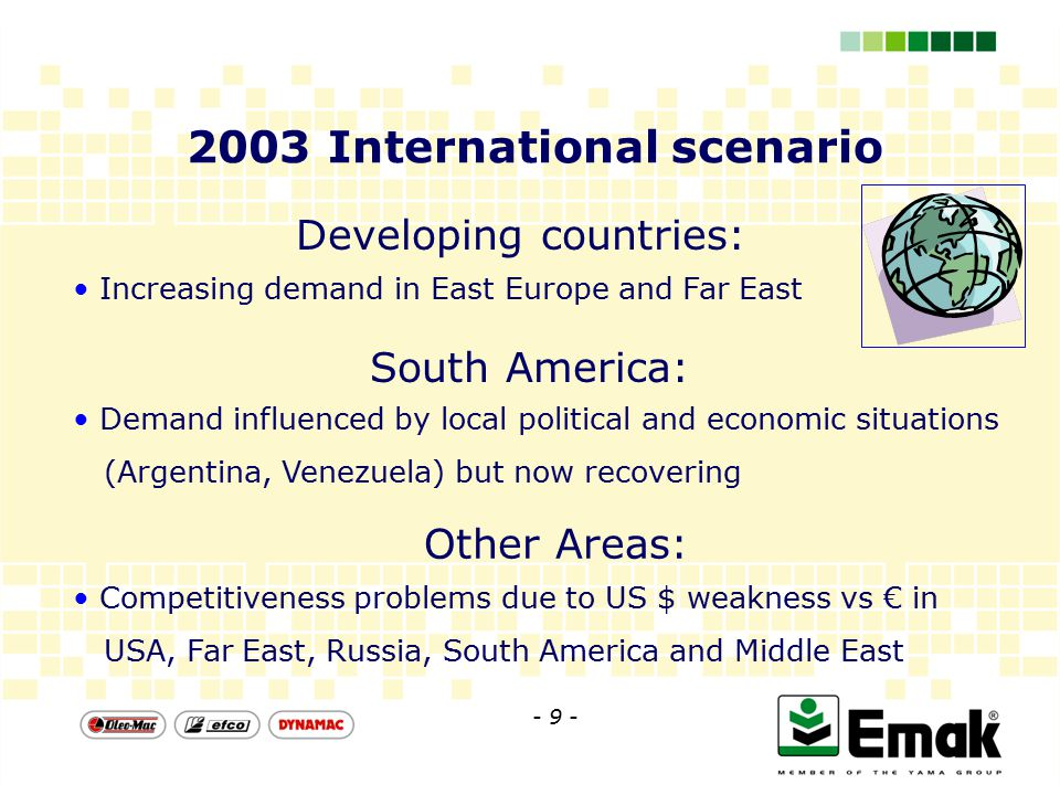 2003 International scenario Developing countries: Increasing demand in East Europe and Far East Demand influenced by local political and economic situations (Argentina, Venezuela) but now recovering South America: Competitiveness problems due to US $ weakness vs € in USA, Far East, Russia, South America and Middle East Other Areas: - 9 -