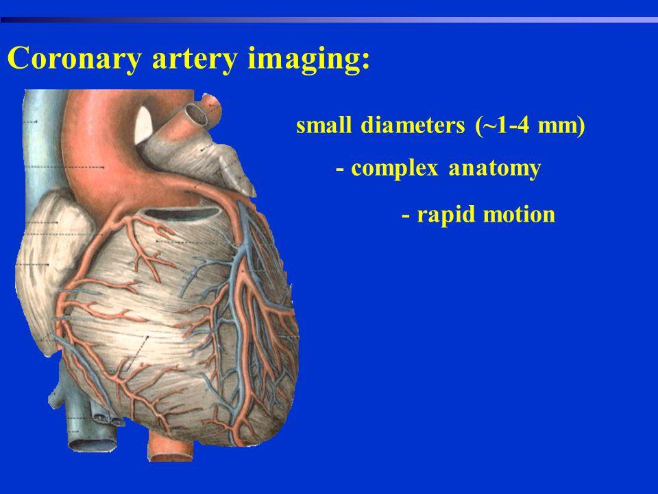 Coronary artery imaging: - small diameters (~1-4 mm) - complex anatomy - rapid motion