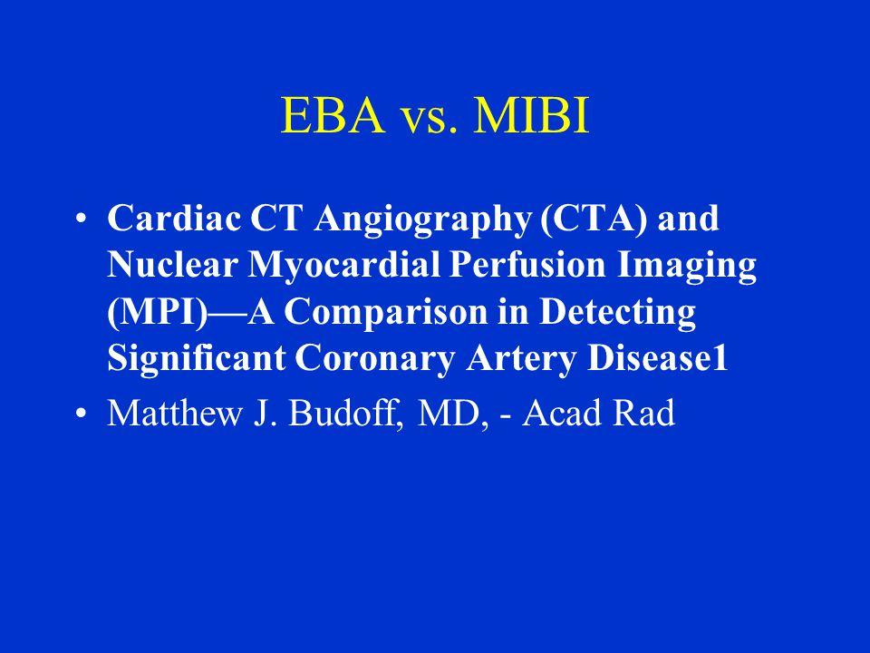 EBA vs. MIBI Cardiac CT Angiography (CTA) and Nuclear Myocardial Perfusion Imaging (MPI)—A Comparison in Detecting Significant Coronary Artery Disease