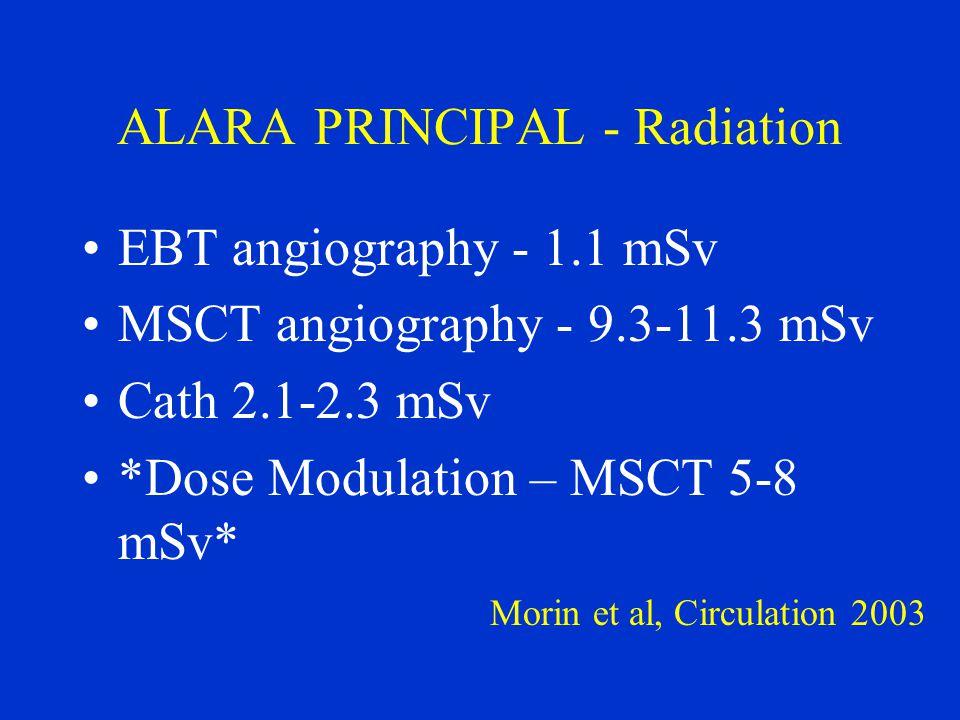 ALARA PRINCIPAL - Radiation EBT angiography - 1.1 mSv MSCT angiography - 9.3-11.3 mSv Cath 2.1-2.3 mSv *Dose Modulation – MSCT 5-8 mSv* Morin et al, C