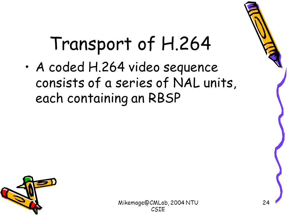 Mikemage@CMLab, 2004 NTU CSIE 24 Transport of H.264 A coded H.264 video sequence consists of a series of NAL units, each containing an RBSP