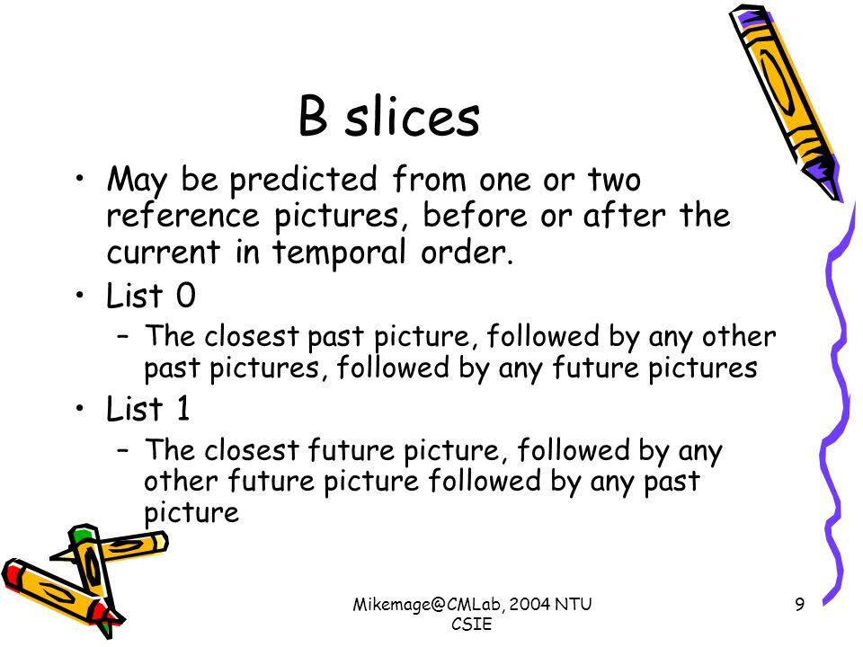 Mikemage@CMLab, 2004 NTU CSIE 10 B slices(2) Prediction options
