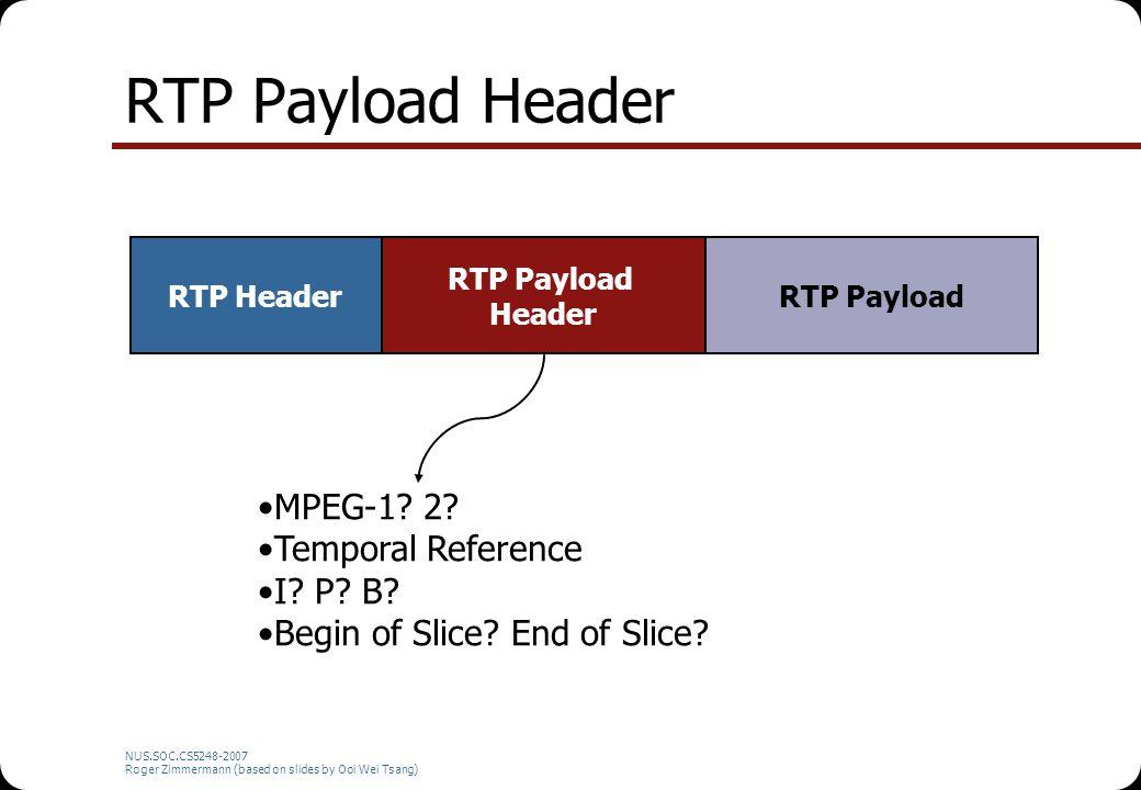 NUS.SOC.CS5248-2007 Roger Zimmermann (based on slides by Ooi Wei Tsang) RTP Payload Header RTP Header RTP Payload Header RTP Payload MPEG-1.