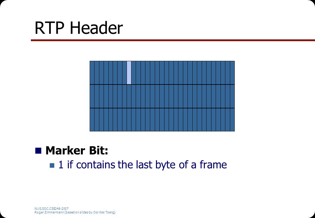 NUS.SOC.CS5248-2007 Roger Zimmermann (based on slides by Ooi Wei Tsang) RTP Header Marker Bit: 1 if contains the last byte of a frame
