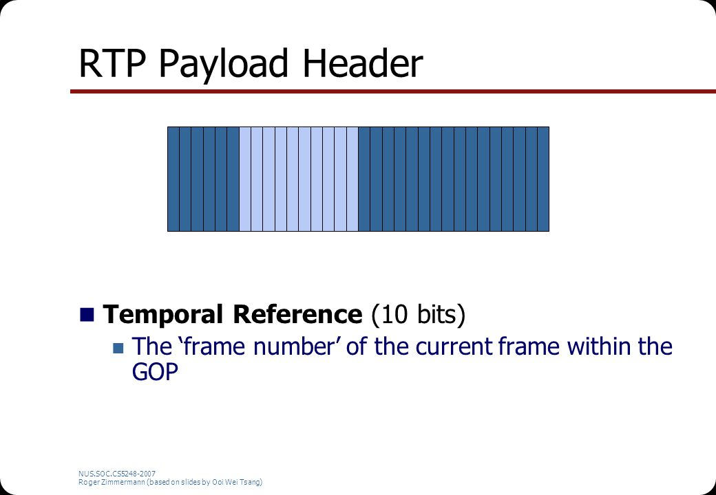 NUS.SOC.CS5248-2007 Roger Zimmermann (based on slides by Ooi Wei Tsang) RTP Payload Header Temporal Reference (10 bits) The 'frame number' of the current frame within the GOP