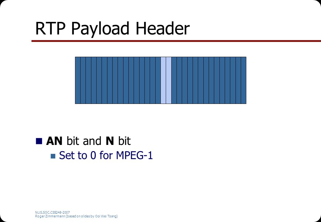 NUS.SOC.CS5248-2007 Roger Zimmermann (based on slides by Ooi Wei Tsang) RTP Payload Header AN bit and N bit Set to 0 for MPEG-1
