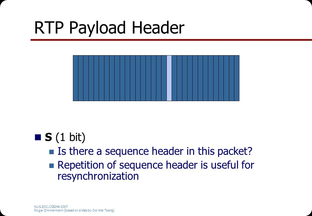 NUS.SOC.CS5248-2007 Roger Zimmermann (based on slides by Ooi Wei Tsang) RTP Payload Header S (1 bit) Is there a sequence header in this packet? Repeti