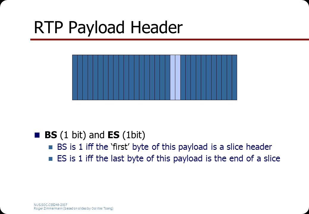 NUS.SOC.CS5248-2007 Roger Zimmermann (based on slides by Ooi Wei Tsang) RTP Payload Header BS (1 bit) and ES (1bit) BS is 1 iff the 'first' byte of th
