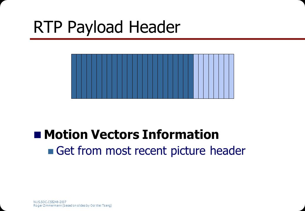 NUS.SOC.CS5248-2007 Roger Zimmermann (based on slides by Ooi Wei Tsang) RTP Payload Header Motion Vectors Information Get from most recent picture header