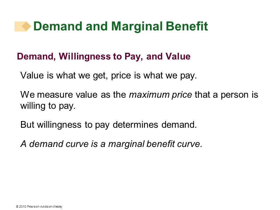 © 2010 Pearson Addison-Wesley Individual Demand and Market Demand The relationship between the price of a good and the quantity demanded by one person is called individual demand.