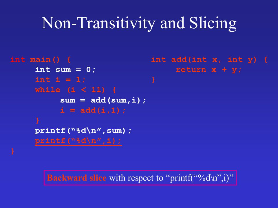 "Non-Transitivity and Slicing int main() { int sum = 0; int i = 1; while (i < 11) { sum = add(sum,i); i = add(i,1); } printf(""%d\n"",sum); printf(""%d\n"""