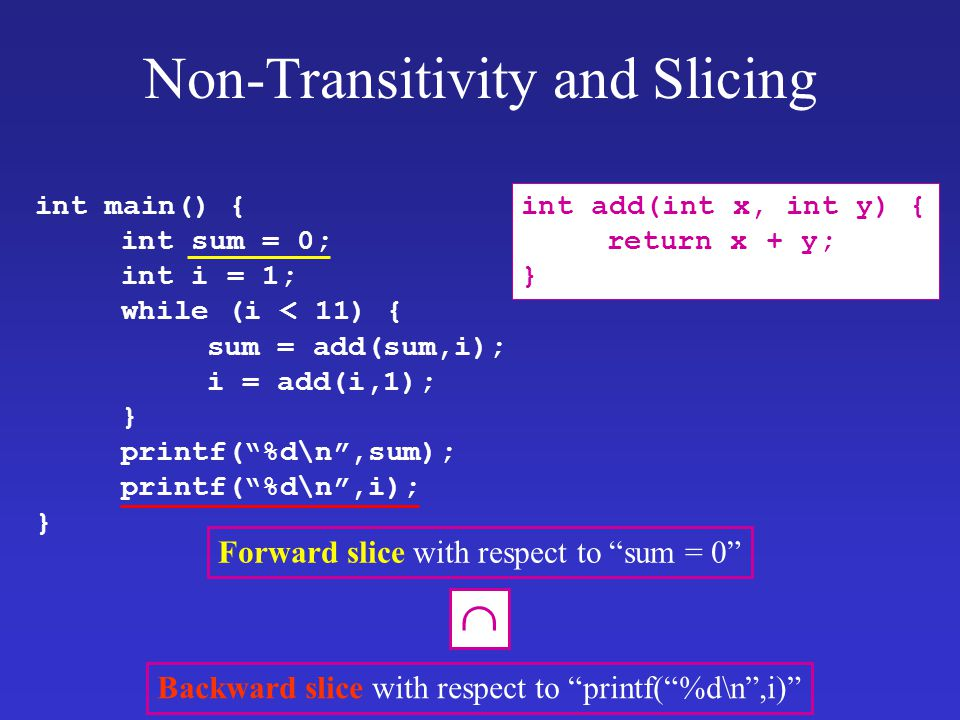 "Forward slice with respect to ""sum = 0"" Non-Transitivity and Slicing int main() { int sum = 0; int i = 1; while (i < 11) { sum = add(sum,i); i = add(i"
