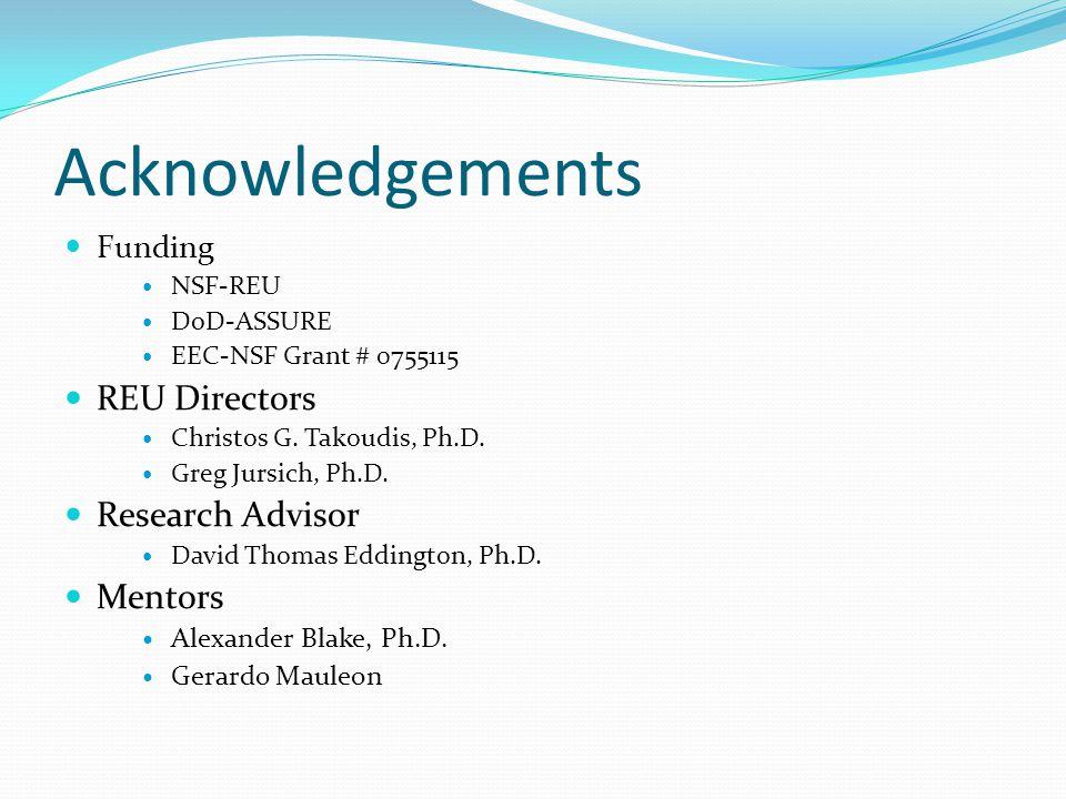 Acknowledgements Funding NSF-REU DoD-ASSURE EEC-NSF Grant # 0755115 REU Directors Christos G.
