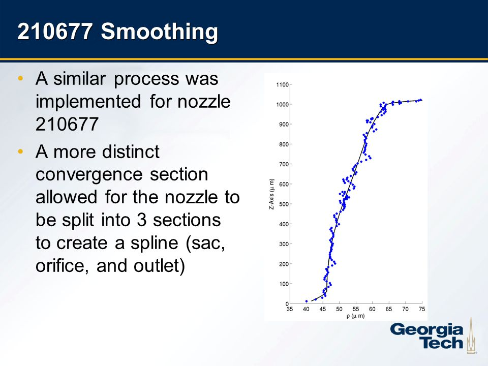 25 210677 Smoothing A similar process was implemented for nozzle 210677 A more distinct convergence section allowed for the nozzle to be split into 3 sections to create a spline (sac, orifice, and outlet)